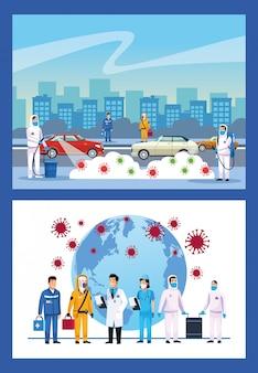 Nettoyage biologique des personnes avec un pulvérisateur et des particules de covid19 sur la ville