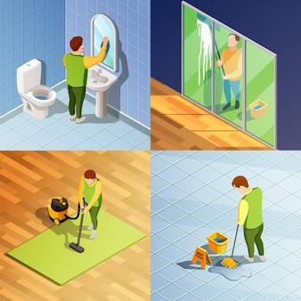 Nettoyage concept de conception isométrique 2x2