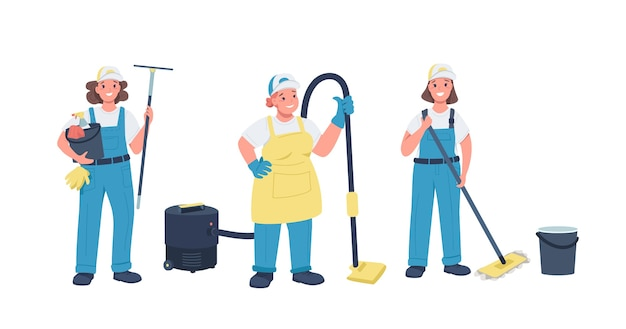 Nettoyage dames jeu de caractères détaillés de couleur plate. femmes gaies qui travaillent dur. femme travaillant avec équipement de nettoyage illustration de dessin animé isolé pour la conception graphique et l'animation web