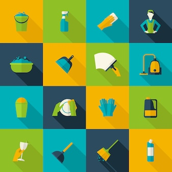 Nettoyage icon flat