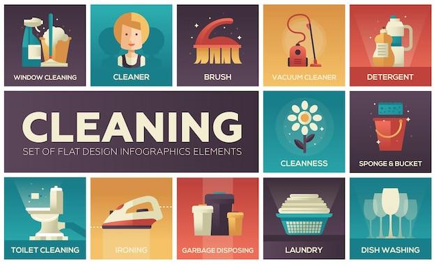 Nettoyage - icônes de conception de lignes vectorielles modernes définies avec des couleurs dégradées. gants en caoutchouc, aspirateur, brosse, propreté, détergent, toilette, spray, plumeau, lave-vaisselle, élimination des ordures, repassage du linge
