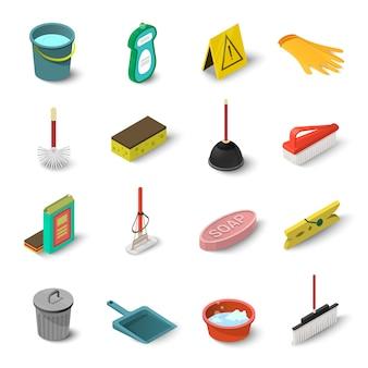 Nettoyage des icônes définies. illustration isométrique de 16 icônes vectorielles de nettoyage pour le web