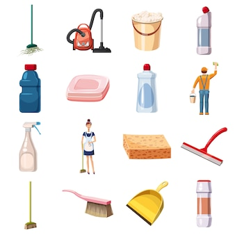 Nettoyage des icônes mis des détergents, style cartoon