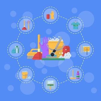 Nettoyage des icônes plates en cercle