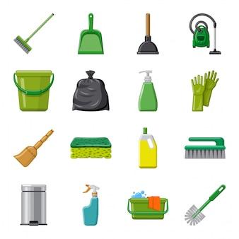 Nettoyage jeu d'icônes de dessin animé, service de nettoyage.