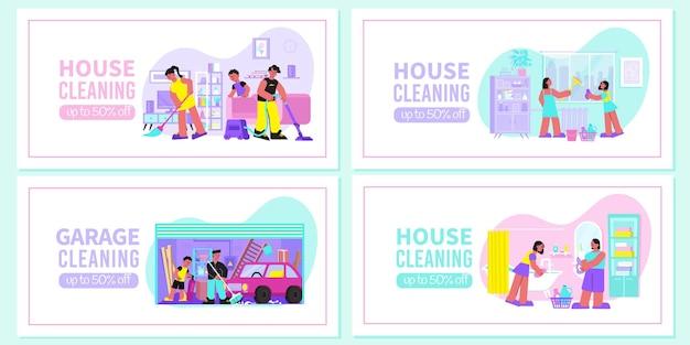 Nettoyage de la maison de printemps 4 bannières web plates avec balayage aspirateur de plancher épongeant le garage de lavage de vitres