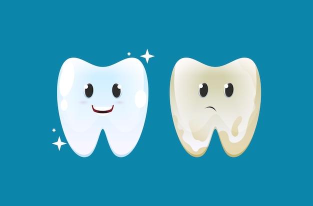 Nettoyage et sain avec sale et dent avec plaque dentaire.
