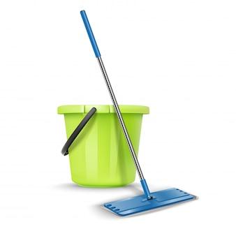 Nettoyage seau de bienvenue avec balai. isolé sur blanc