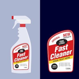 Nettoyant, étiquette de bouteille de détergent à lessive, nettoyant pour toilettes ou évier, modèle de conception de bannière de paquet créatif.