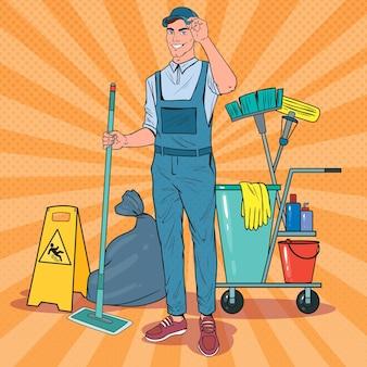 Nettoyant pop art en uniforme avec vadrouille