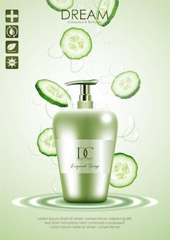 Nettoyant pour le corps produit naturel avec du concombre