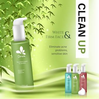 Nettoyant visage en bambou. annonces de soins de la peau en illustration 3d, scène tranquille de forêt de bambous avec feuilles et fond vert.