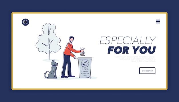 Nettoyer après le concept de page de destination de chien