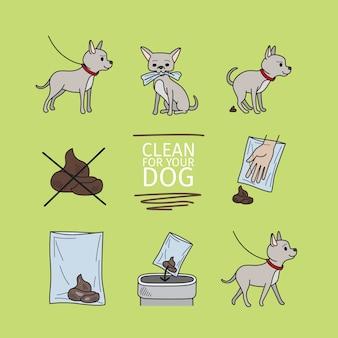 Nettoyer après l'illustration vectorielle d'informations sur votre chien