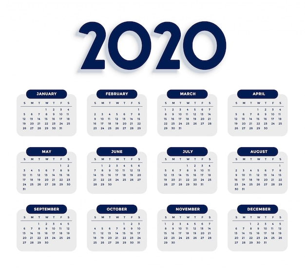 Nettoyer élégant modèle de calendrier 2020
