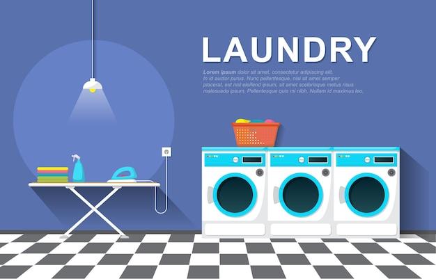 Nettoyer l'intérieur moderne des outils de blanchisserie de machine à laver de laverie