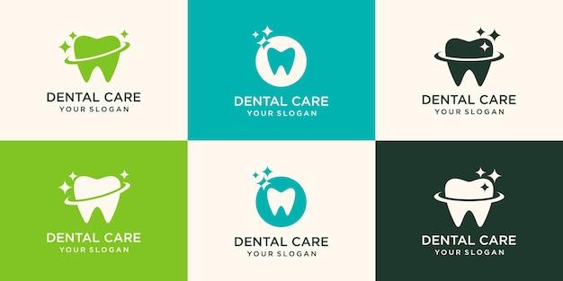 Nettoyer le logo dentaire conçoit le vecteur de concept, vecteur de modèle de logo de shine dental,