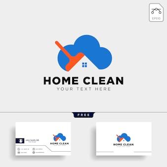 Nettoyer la maison ou la maison créative logo modèle illustration vectorielle