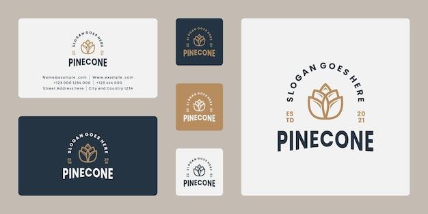 Nettoyer le vecteur de conception de logo de pomme de pin rétro avec le modèle de carte de visite