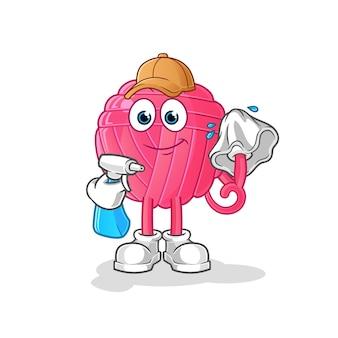 Nettoyeur de billes de fil. personnage de dessin animé