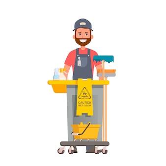 Nettoyeur de bureau professionnel tenant un chariot de nettoyage