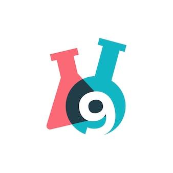 Neuf 9 numéro laboratoire verrerie bécher logo vector icon illustration