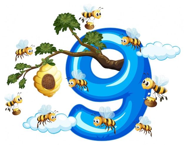 Neuf abeille avec le numéro neuf
