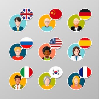 Neuf avatars utilisateur colorés avec différentes bulles de langue