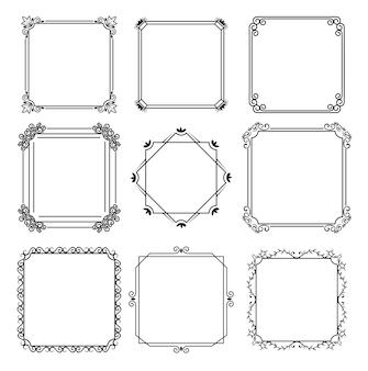 Neuf cadres monochromes dans le style de ligne de fond blanc