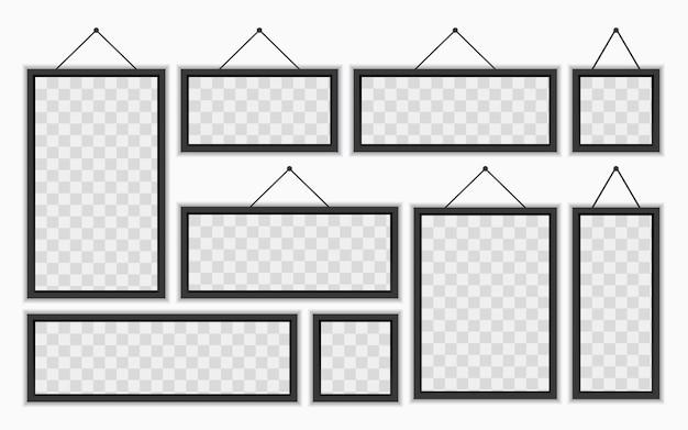 Neuf cadres photo muraux de différentes tailles