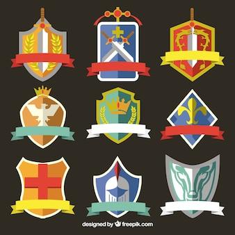 Neuf emblèmes de chevalier