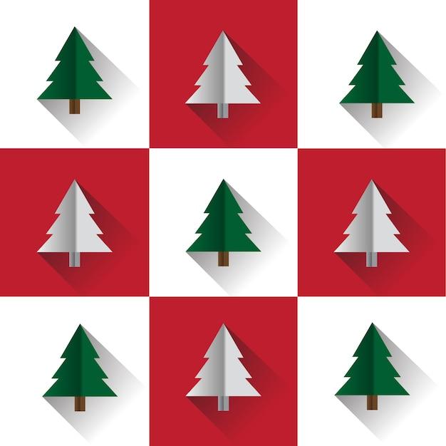 Neuf grilles rouges et blanches d'arbres de noël de pin avec un design de style de papier découpé
