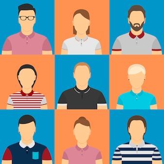 Neuf humains dans des avatars de polo.