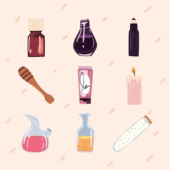 Neuf icônes de bien-être spa