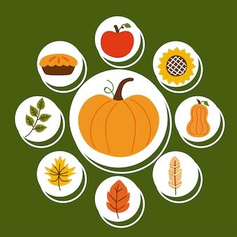Neuf icônes de célébration de thanksgiving