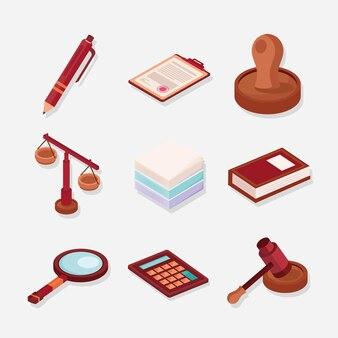 Neuf icônes de conseils juridiques