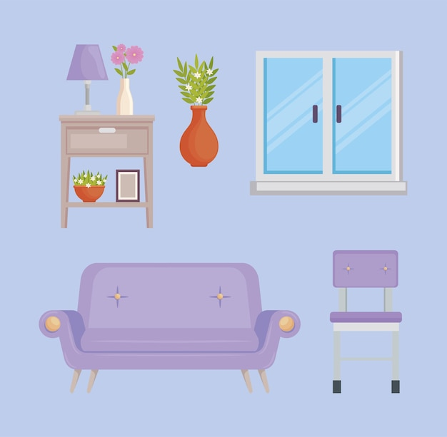 Neuf icônes de décoration d'intérieur