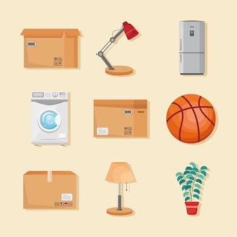 Neuf icônes de déménagement