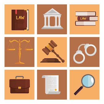 Neuf icônes de droit et de justice