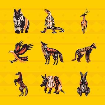 Neuf icônes ethniques d'animaux indigènes