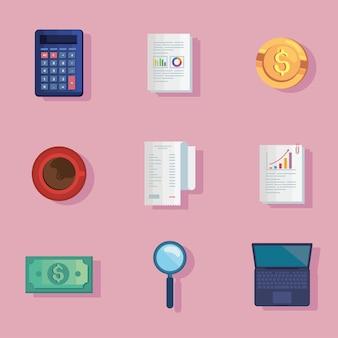 Neuf icônes de finances personnelles