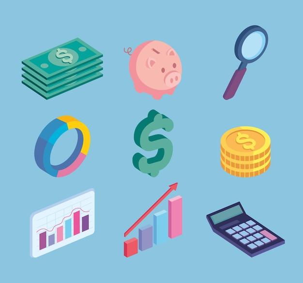 Neuf icônes financières d'actions