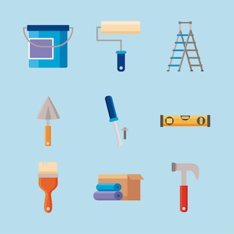 Neuf icônes de jeu de rénovation domiciliaire