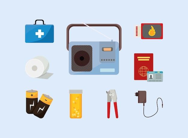 Neuf icônes de kit d'urgence