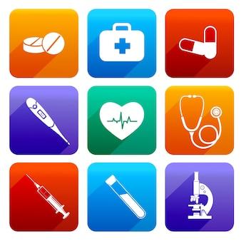 Neuf icônes de médecine