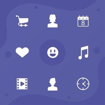 Neuf icônes de réseaux sociaux