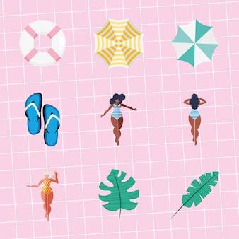 Neuf icônes de vacances d'été