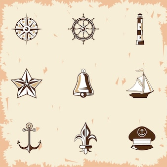 Neuf icônes vintage étiquettes nautiques