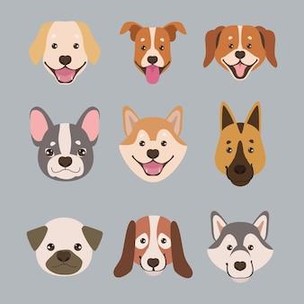 Neuf mascottes tête de chien