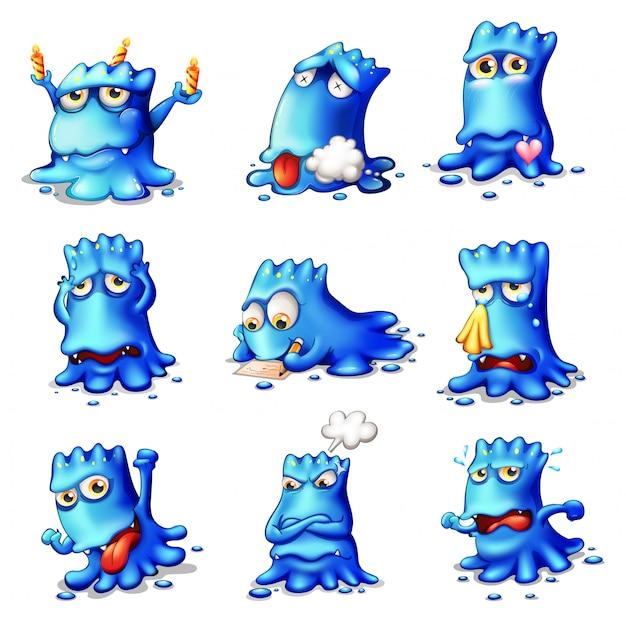 Neuf monstres bleus